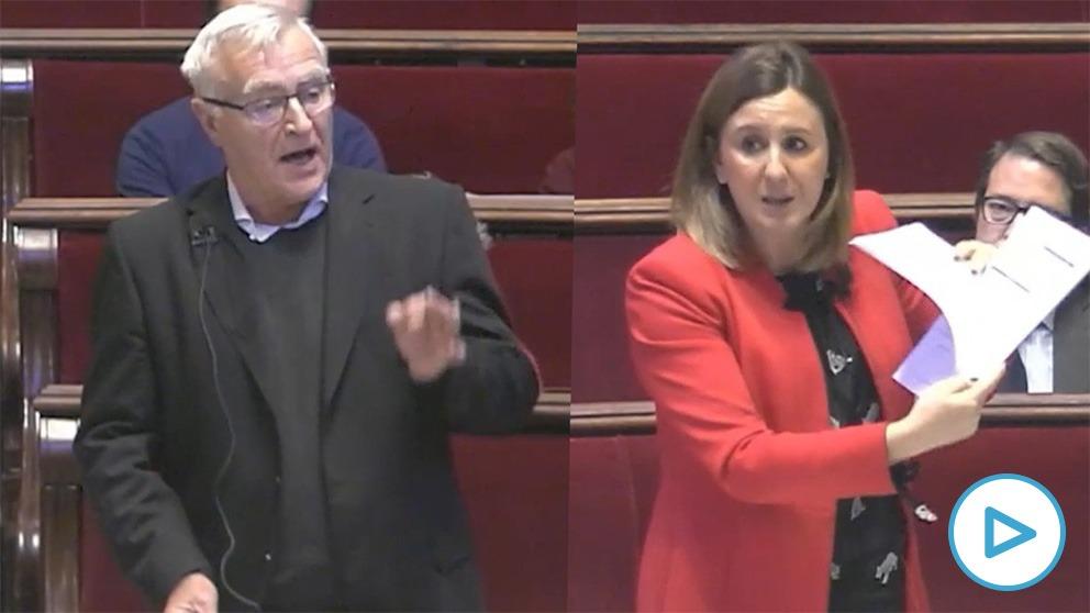 Joan Ribó (Compromis) y María José Catalá (PP) durante el pleno de reprobación.
