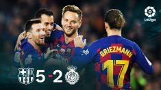 Leo Messi celebra con sus compañeros otro partido monumental.