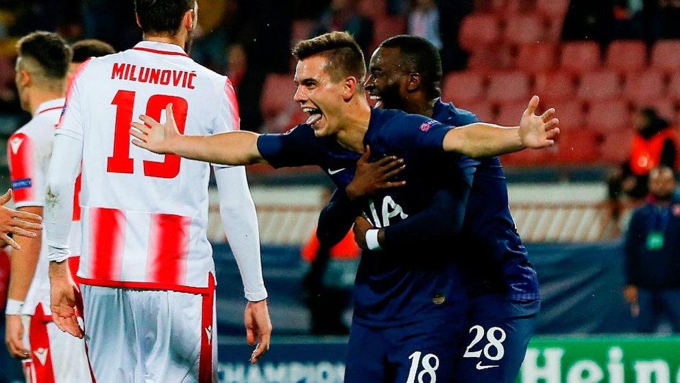 Giovani Lo Celso celebra su primer gol con el Tottenham. (@LoCelsoGiovani)
