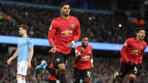 Rashford celebra su gol ante el Manchester CIty. (Getty)