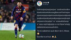 Mensaje de la Liga sobre el partido de Leo Messi en el Camp Nou