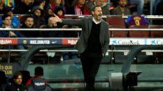 Vicente Moreno, técnico del Real Mallorca, en el Camp Nou. (EFE)