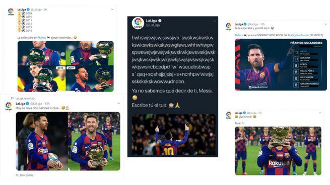 El Twitter de la Liga se tiñe de azulgrana y se le ven los colores con Messi