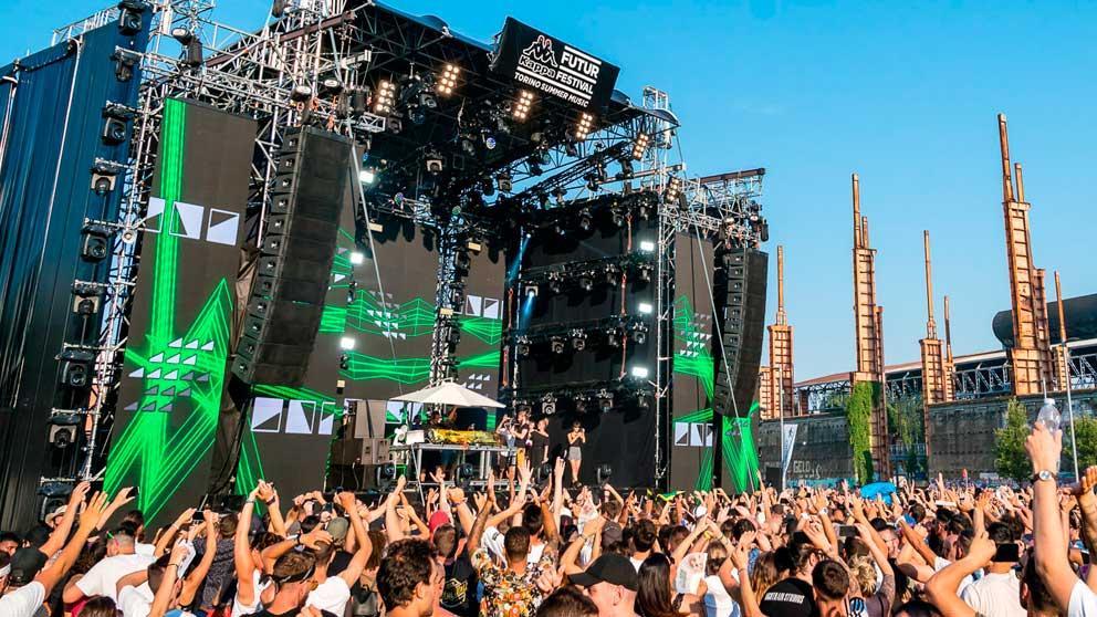 Una imagen de Kappa FuturFestival 2019, festival de tecnología y techno que se celebra en Turín (Italia).