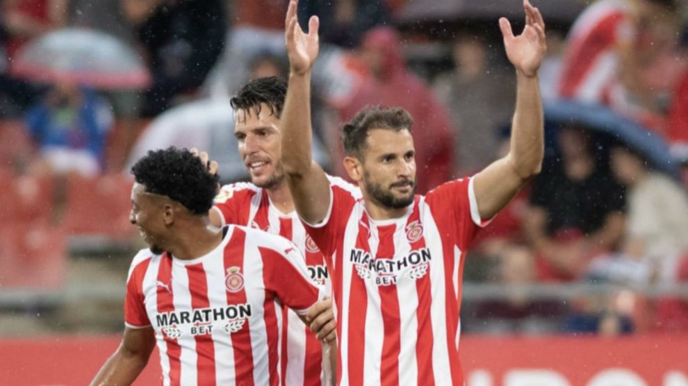 Cristhian Stuani celebra un gol con el Girona (@CristhianStuani)
