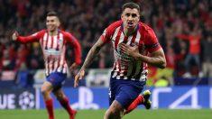 Giménez celebra un gol con el Atlético. (Getty)