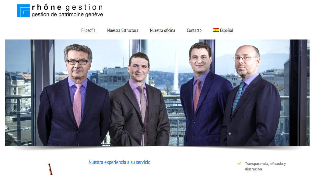 La web oficial de Rhône Gestion, con su equipo directivo encabezado por Fasana, a la izquierda.