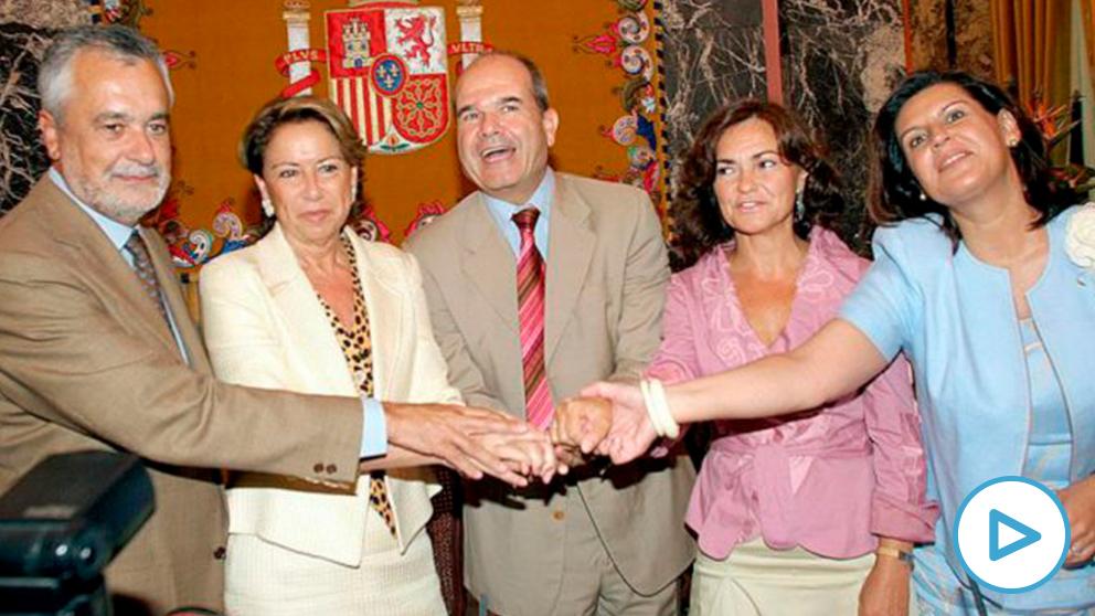 carmen-calvo-ere-playCarmen Calvo con Chaves y Griñán en 2005