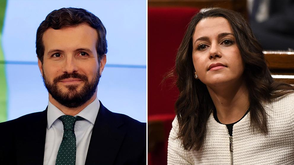 Pablo Casado, líder del PP, e Inés Arrimadas, portavoz de Ciudadanos en el Congreso.