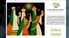 Felicitación 'fake' de Navidad atribuida a Vox Cádiz.