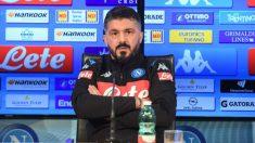Gattuso, durante una rueda de prensa. (Nápoles)