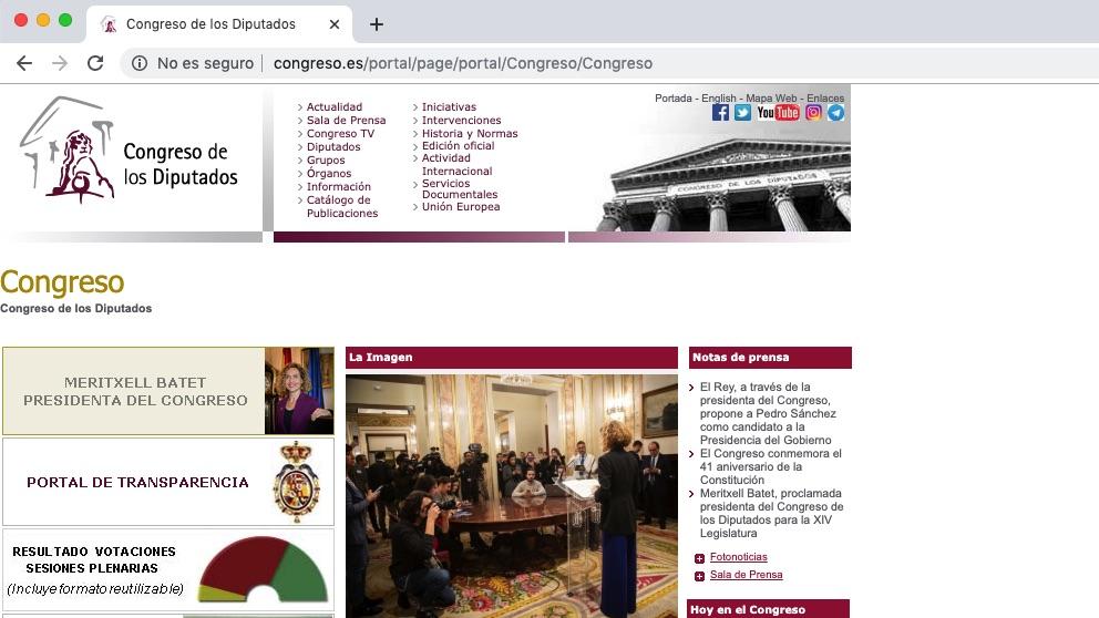 Portada actual de la web del Congreso de los Diputados.
