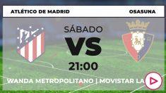 Atlético de Madrid – Osasuna: jornada 17 de la Liga Santander