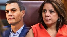 La vicesecretaria del PSOE Adriana Lastra junto a Pedro Sánchez.