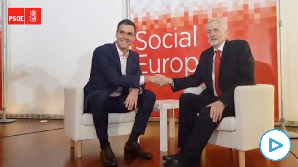 Pedro Sánchez y Jeremy Corbyn en una reunión en Madrid.
