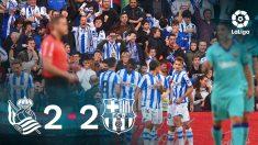 La Real Sociedad y el Barcelona firmaron un empate a dos en Anoeta.