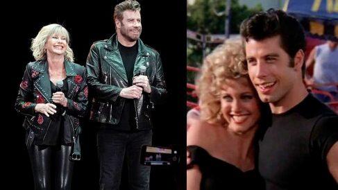 Olivia Newton-John y John Travolta caracterizados como sus personajes, Sandy y Danny y al lado un fotograma de la película 'Grease', estrenada en 1978.