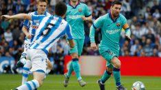 Messi, en el partido contra la Real Sociedad. (EFE)