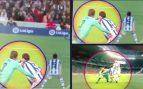 La Real retrata al Barcelona y publica las imágenes que demuestran que Piqué agarra primero a Llorente
