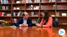 Reunión entre Lorena Roldán y Miquel Iceta previa a la moción de censura contra Torra.