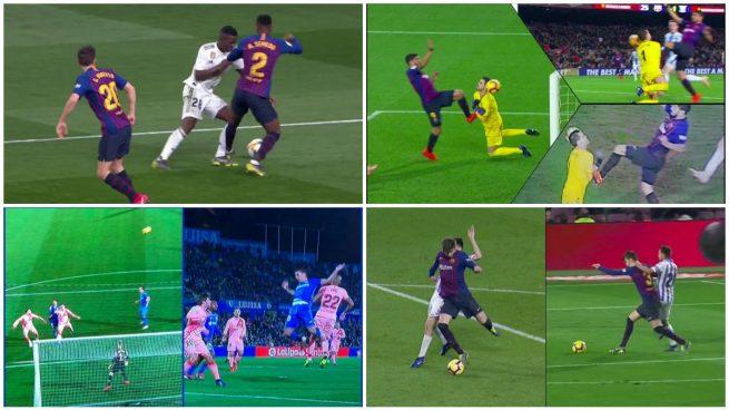 Varias acciones en las que el VAR benefició al Barcelona.