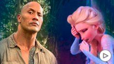 Dwayne 'The Rock' Johnson, protagonista de la segunda parte de 'Jumanji', junto a Elsa de 'Frozen 2' llorando desconsolada.