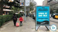 Publicidad de la plataforma separatista 'Tsunami democrátic' en las marquesinas de Barcelona.