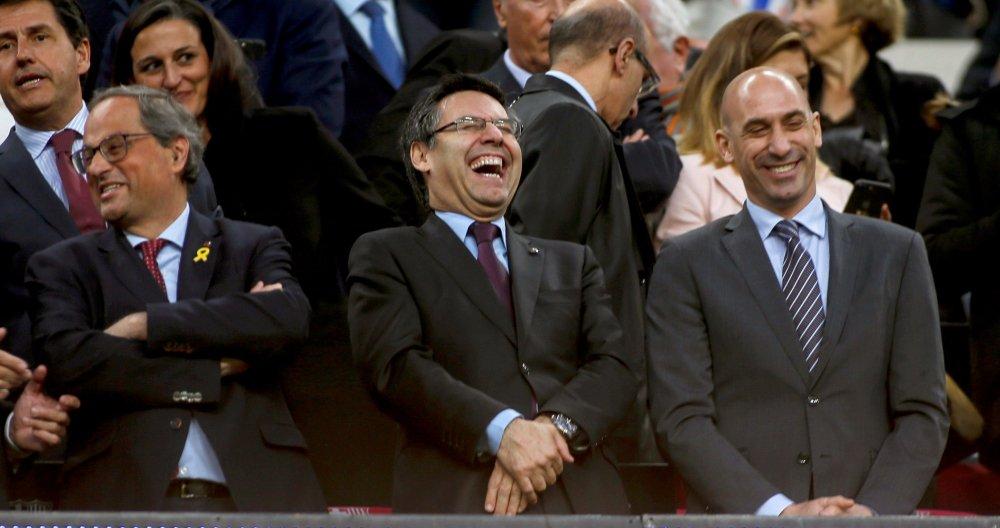 Bartomeu y Rubiales, en el palco del Camp Nou (EFE).