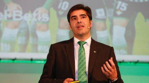 Ángel Haro durante la Junta General Ordinaria de Accionistas del Betis. (Real Betis)