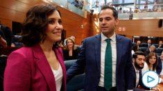 Isabel Díaz Ayuso e Ignacio Aguado en la Asamblea. (Foto: Francisco Toledo/Okdiario)