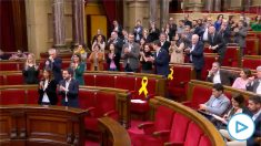 Diputados de ERC, JxCAT y la CUP se ponen de pie en el Parlament para pedir la libertad de Oriol Junqueras.