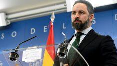 Santiago Abascal, presidente de Vox, durante una rueda de prensa en el Congreso de los Diputados. (Foto: Efe)