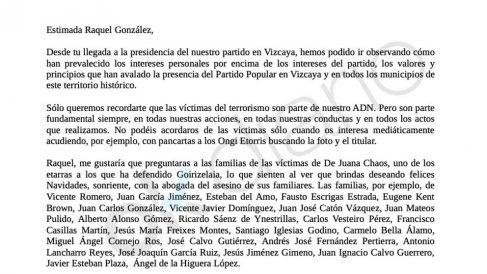 Carta a Raquel González, presidenta del PP de Vizcaya.