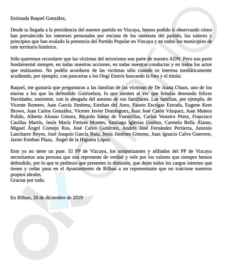 Ésta es la carta de los militantes del PP de Vizcaya contra su presidenta por compadrear con Bildu