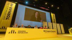 Marta Rovira, durante su intervención por vídeoconferencia desde Suiza en el Congreso de ERC.