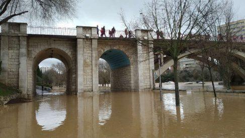 El Pisuerga, hoy, a su paso por Valladolid. (Ep)