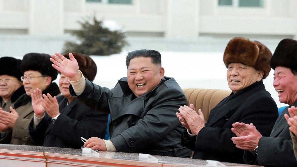 Kim Jong Un en la ceremonia de inauguración de la ciudad de Samjiyon.