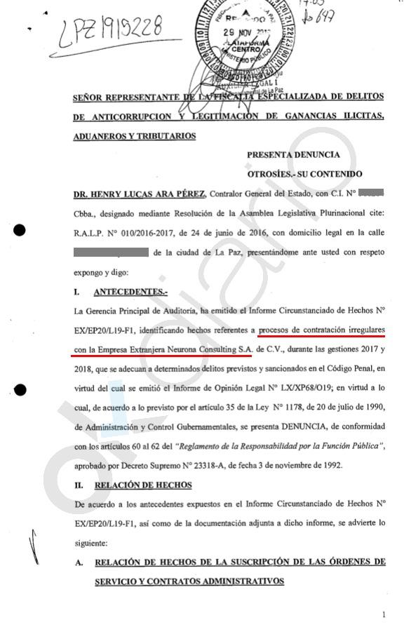 Primera página de la denuncia de 134 páginas. (Clic para ampliar)