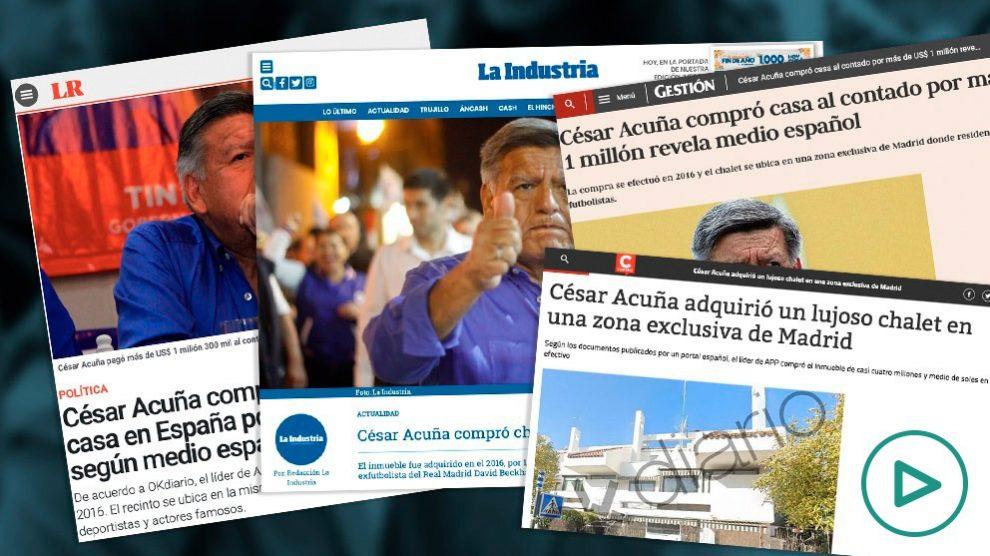 La prensa de Perú se hace eco del chalet de lujo de César Acuña destapado por OKDIARIO.