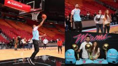 Gerard Piqué y Shakira disfrutaron en las instalaciones de Miami Heat.