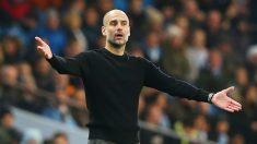 Pep Guardiola, durante el partido de Liga entre el Manchester City y el Sheffield United (Getty).