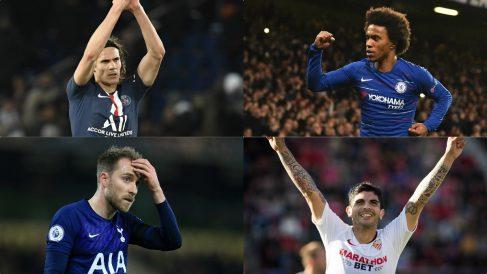 Cavani, Willian, Eriksen y Banega son algunos de los futbolistas que quedan libres en junio.