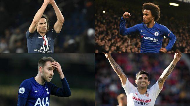 Cavani, Willian, Eriksen y Banega son algunos de los futbolistas qeu quedan libres en junio.