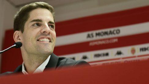 Robert Moreno, durante una rueda de prensa con el Mónaco. (AFP)