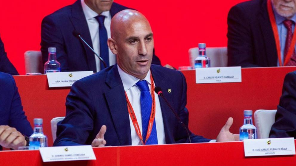 Luis Rubiales, en una Asamblea de la Federación de Fútbol.