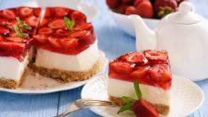 Tarta de queso y fresas vegana