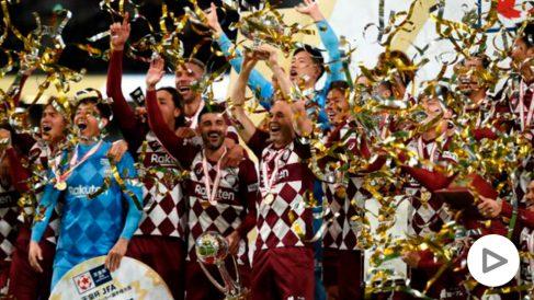 David Villa se despidió del fútbol con la Copa del Emperador. (Getty)
