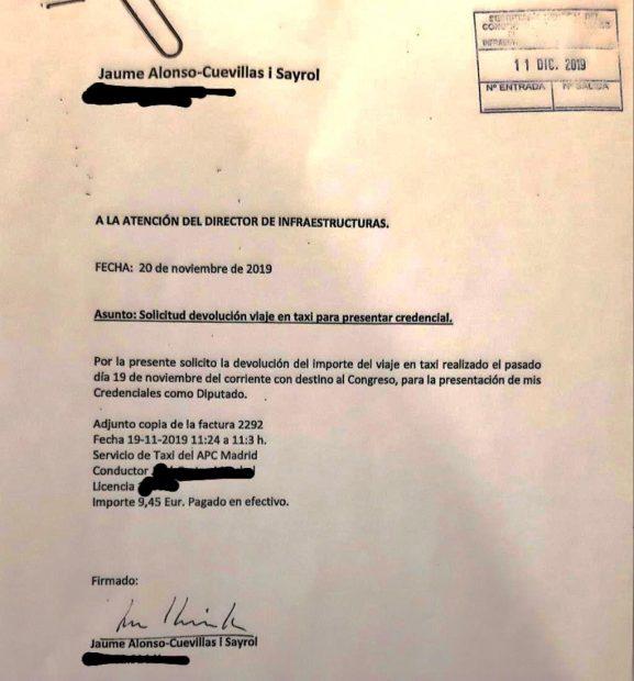 La pela es la pela: el abogado de Puigdemont pasa al Congreso el taxi de 9,45 € por ir a acreditarse