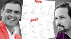 Pedro Sánchez y Pablo Iglesias junto a los calendarios de 1936 y 2020.