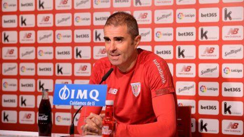 Gaizka Garitano, entrenador del Athletic, en rueda de prensa. (Athletic Club)